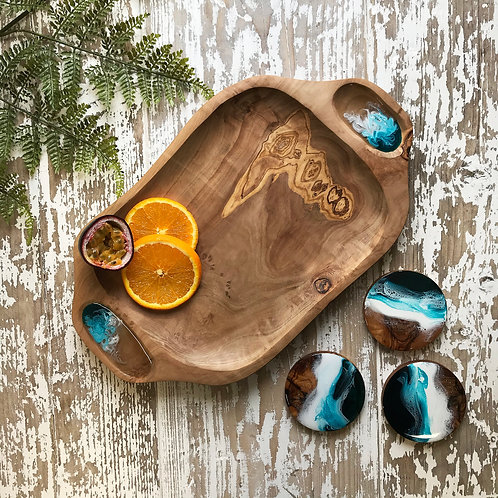 Teal Sea, Olive Wood Bowl