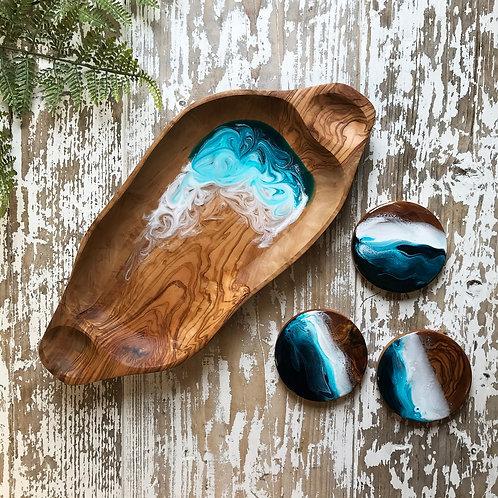 Teal Sea, Olive Wood Bowl