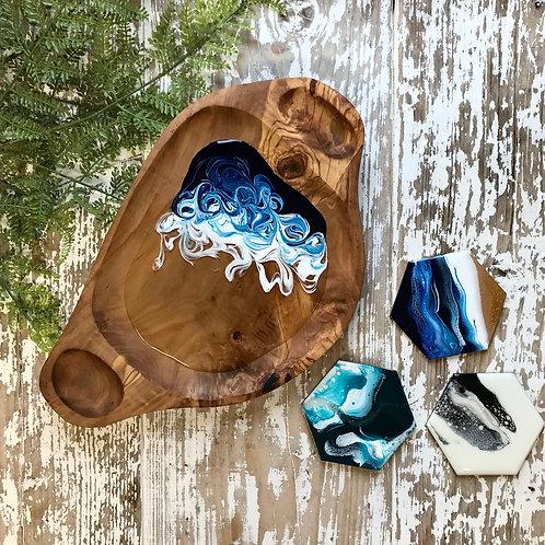 Prussian Blue, Olive Wood Bowl
