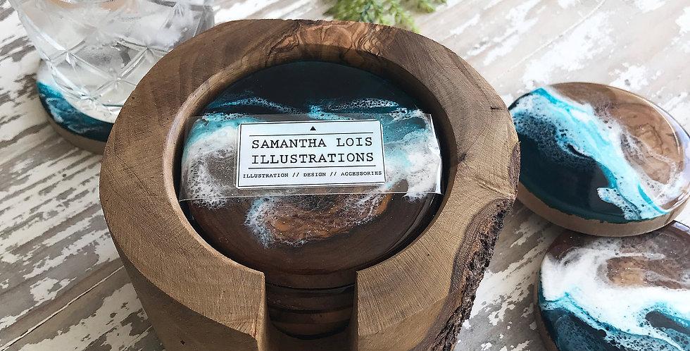Teal Olive Wood Coasters