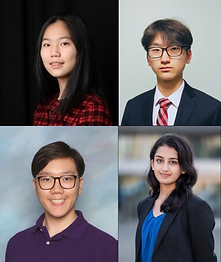 Alissa Guo, Queens Commerce acceptee and gap year taker; Daniel Kim, Waterloo Computing and Financial Management acceptee; Sana Shams, UBC Biology acceptee; Xavier Lam, UBC Engineering acceptee