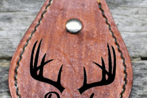 Saddlehorn leather keychain
