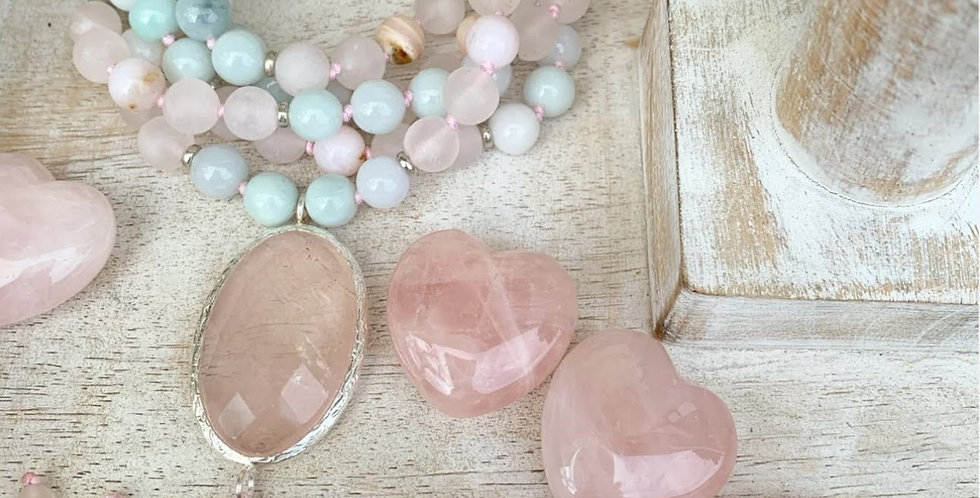 Pink Opal, Burma Jade and Rose Quartz Mala with Rose Quartz Guru Bead