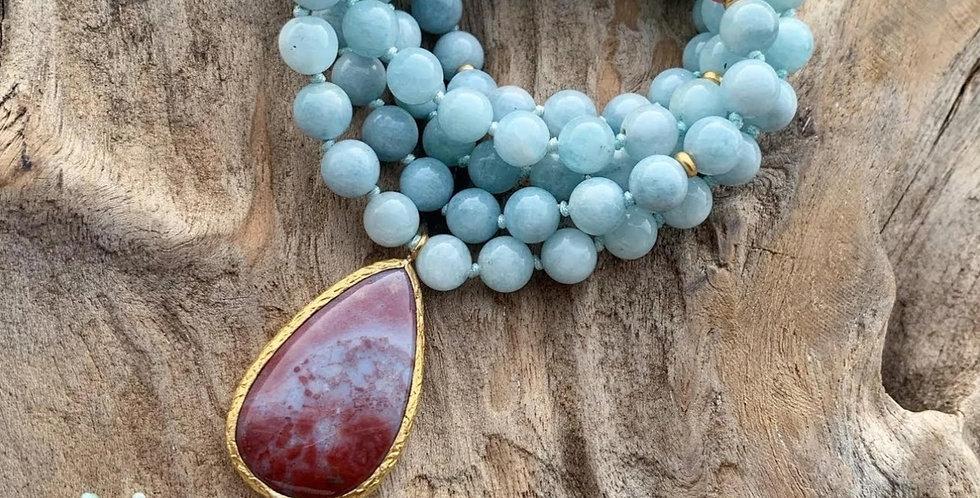 Aquamarine and Strawberry Quartz Mala With Indian Agate Guru Bead
