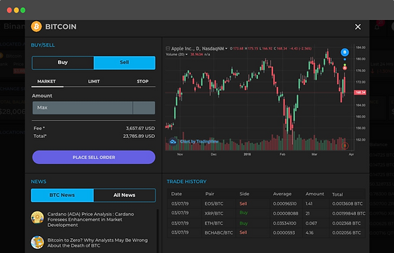 Screenshot of Capfolio's manual trading tab with advanced chats of all cryptocurrency exchanges