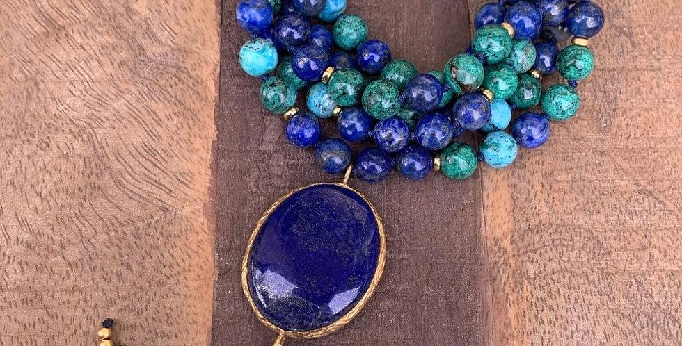 Lapis Lazuli and Chrysocolla Mala with Lapis Lazuli Guru Bead