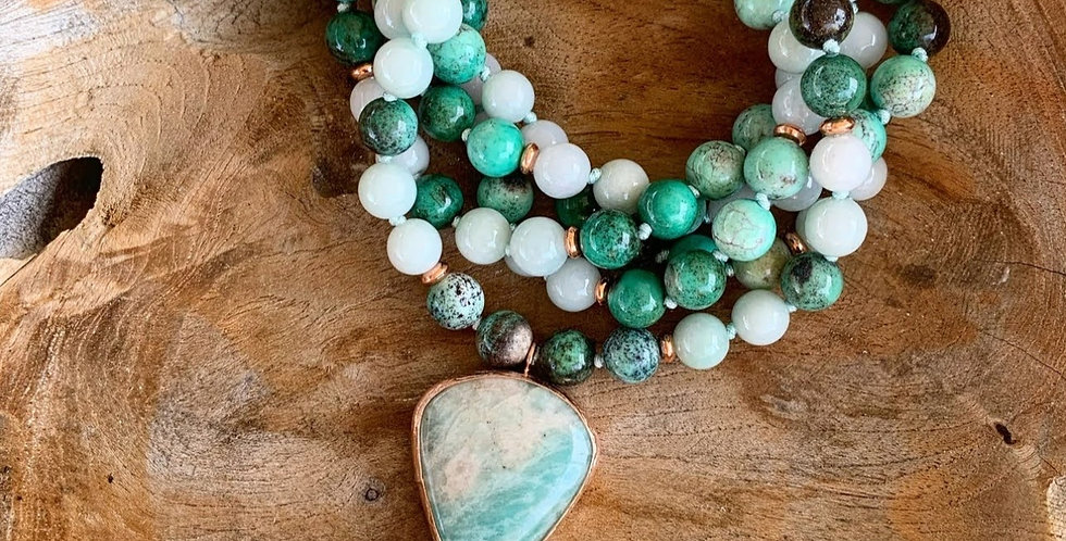 Chrysocolla and Burma Jade Mala with Amazonite Guru Bead
