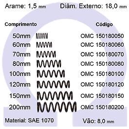 Mola compressão - arame 1,50