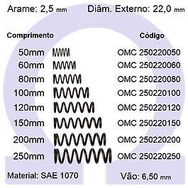 Mola compressão - arame 2,50