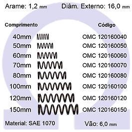 Mola compressão - arame 1,20