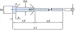 Pino extrator Tipo C - DIN 1530 -ÔMEGA FIX