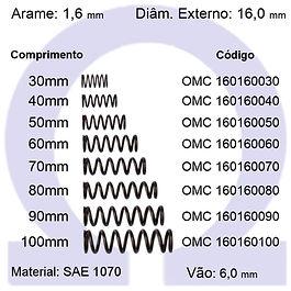 Mola compressão - arame 1,60