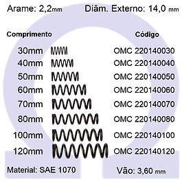 Mola compressão - arame 2,20