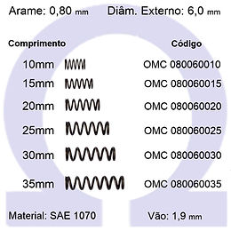 Mola compressão - arame 0,80