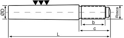 pino guia conico rosca externa