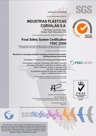 Certificado FSSC 22000 - Corplastic S.A.