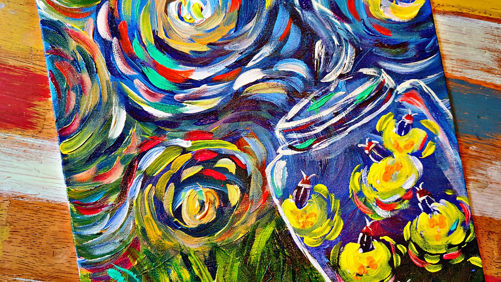 Fireflies Starry Night Inspired Pop-Up Painting Class With Art In Pajamas