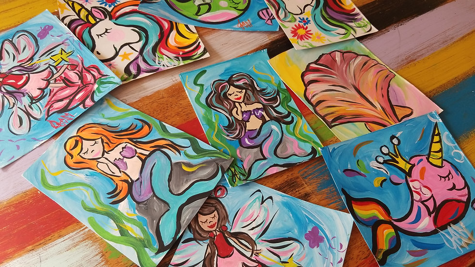 Whimsical Original Kids Art In Pajamas Paintings On Recycled Snack Boxes