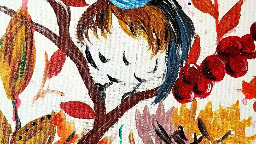 Original Autumn Bird Painting