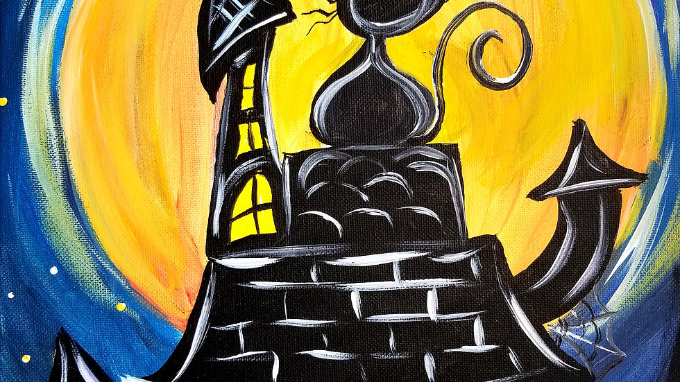 Original Cat and Castle Painting From The Art In Pajamas Spooktacular Class
