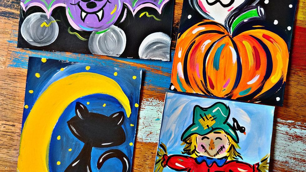 October Art In Pajamas Kids/Beginner Painters Cass Club
