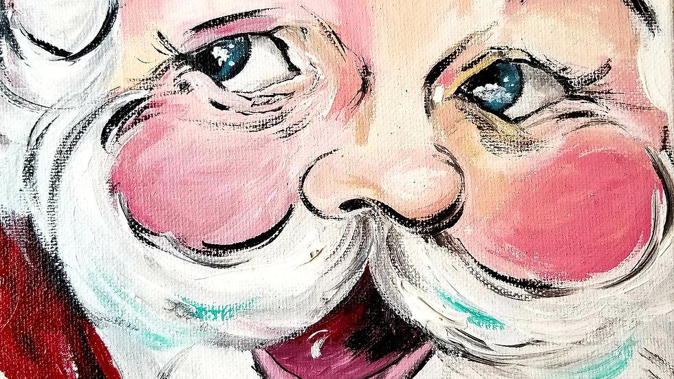 Original Santa Portrait Art Painting
