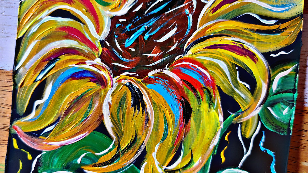 Colorful Sunflower Art In Pajamas Pop-Up Class