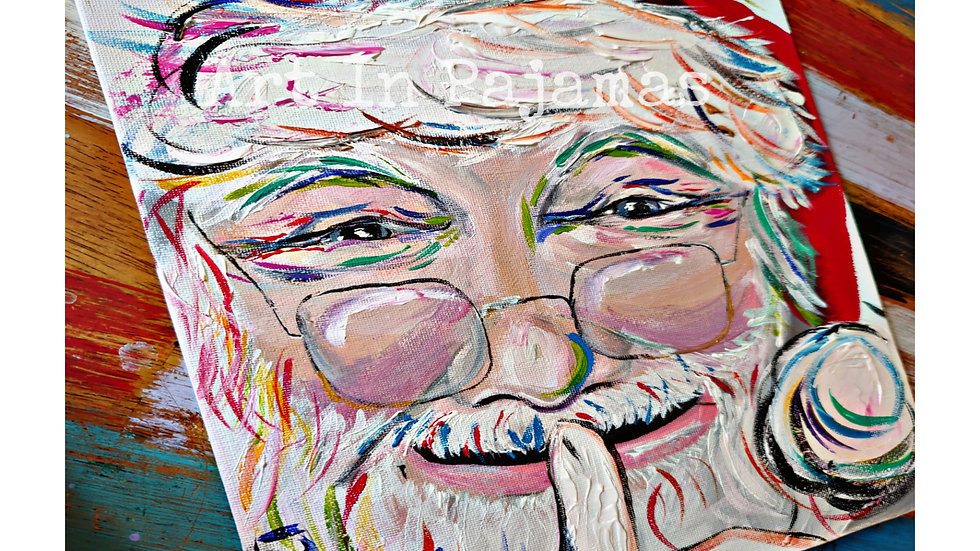 Christmas In July Whimsical Santa Portrait Painting Class With Art In Pajamas