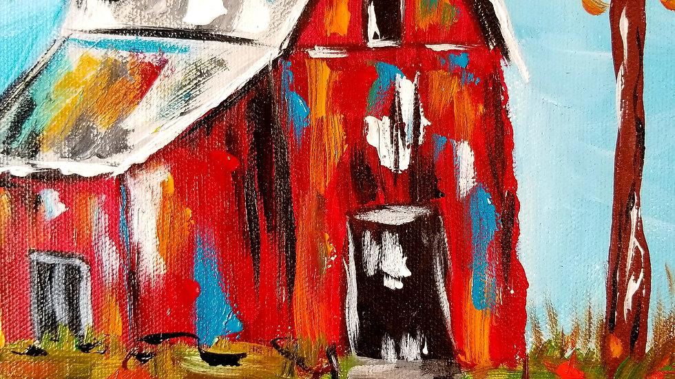 Original Colorful Fall Barn Art Painting
