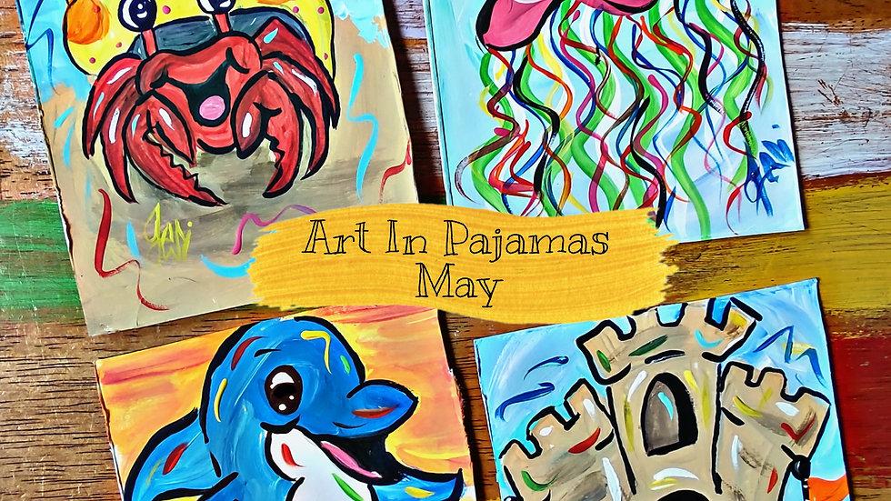 May Art In Pajamas Kids/Beginner Painters Class Club