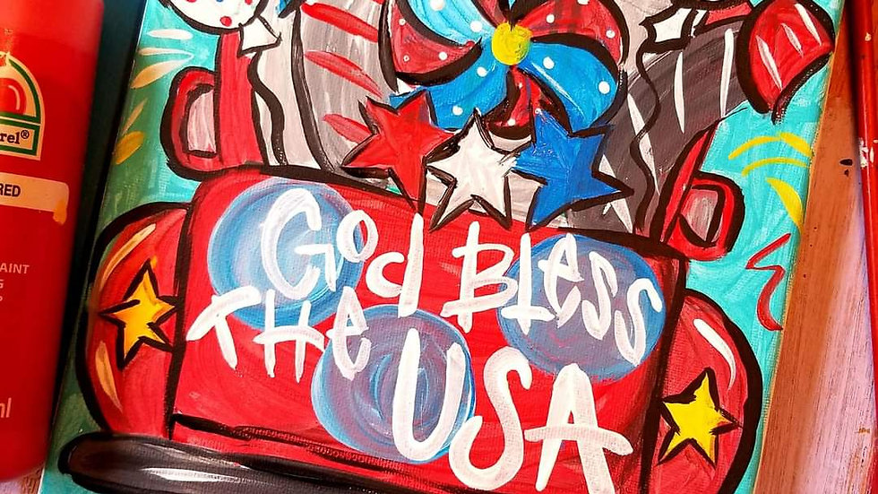 Summer Sale!!!! Red White And Blue Truck Art In Pajamas Virtual Painting Class