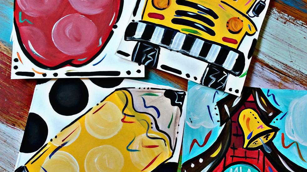 August Back To School Art In  Pajamas Kids/Beginner Painters Cass Club