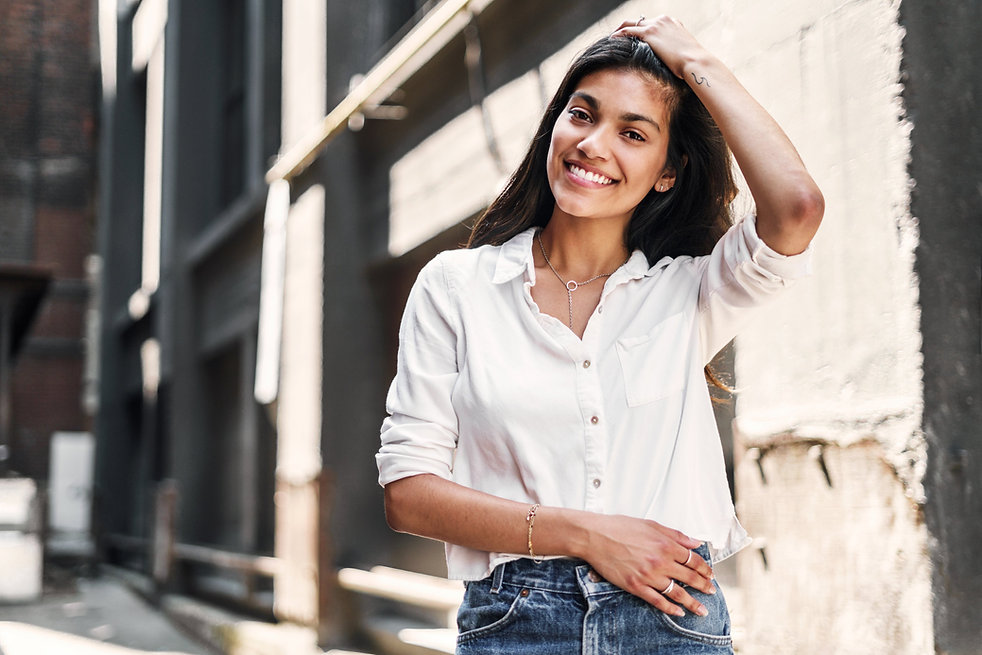 smiling woman poses