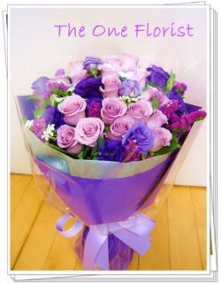 荷蘭20枝淺紫玫瑰花束 訂花送花 (BQ-76)