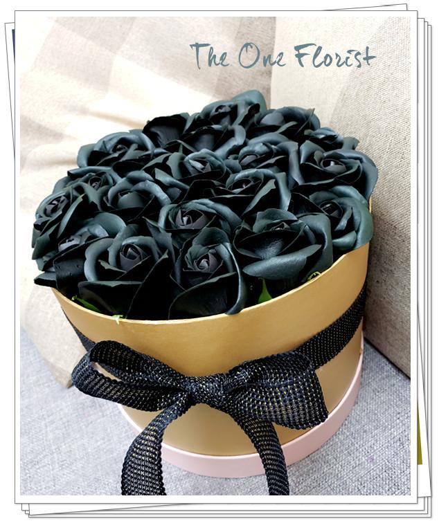 (K26)香皂花-黑玫瑰花盒