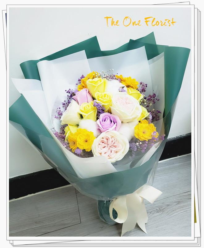 KS-06庭園玫瑰香皂花束