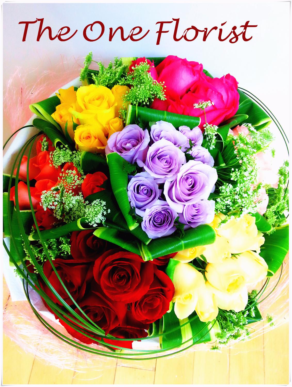 Rainbow 7 色99枝玫瑰 網上花店 (BQ-38)