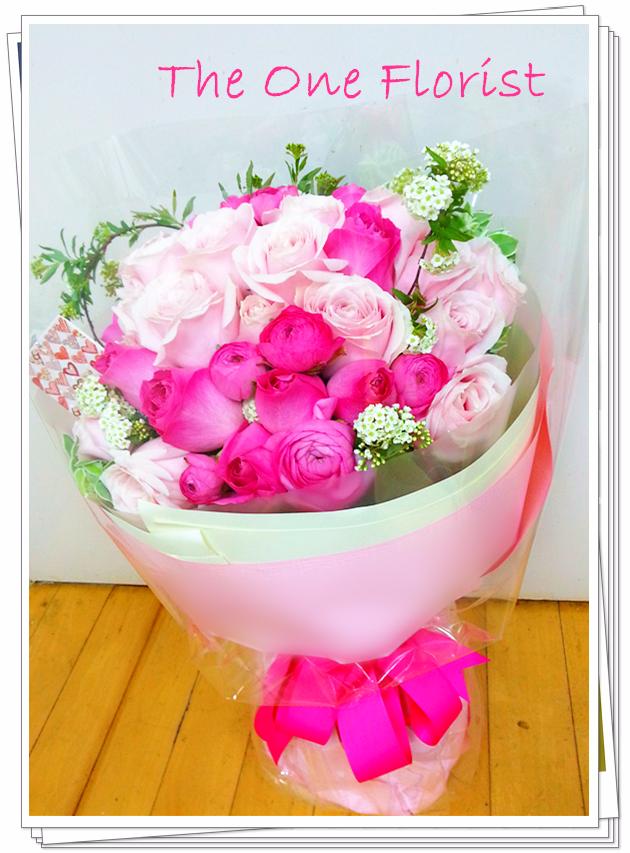 20枝深淺粉紅玫瑰花束 花店訂花(BQ-66)