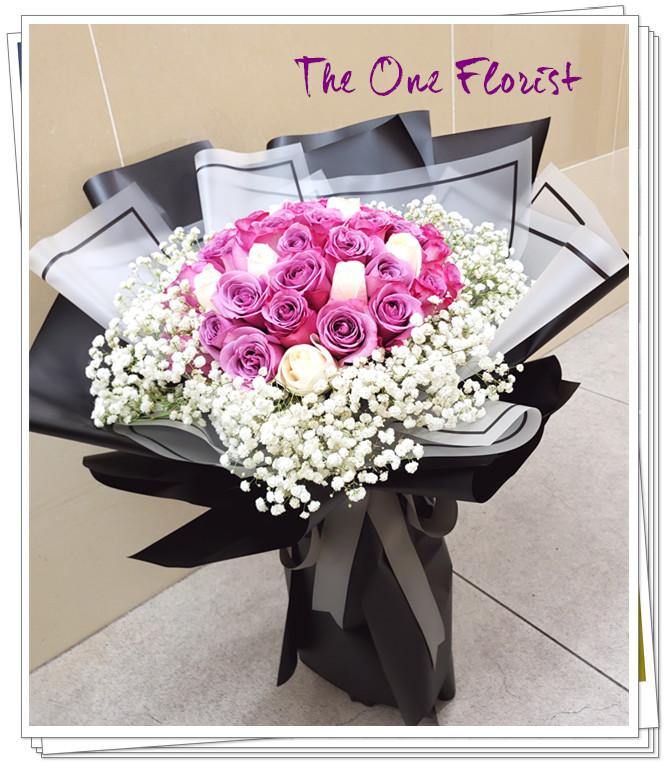 52枝紫白玫瑰花束 (BQ-138)