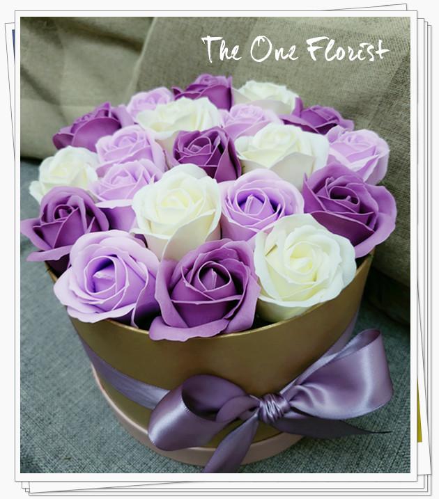 (K18)香皂花-深淺紫玫瑰花盒