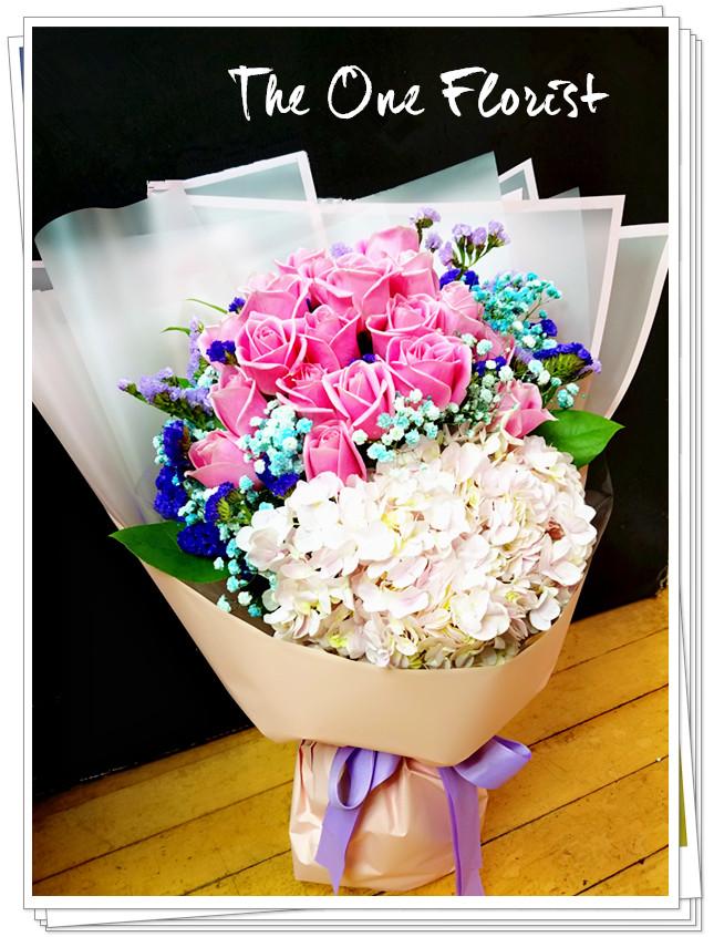 玫瑰繡球花束 網上花店 (BQ-128)
