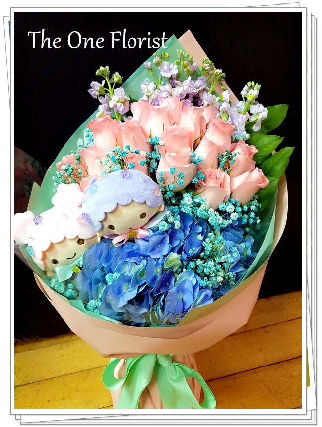 玫瑰繡球花束 網上花店 (BQ-113)