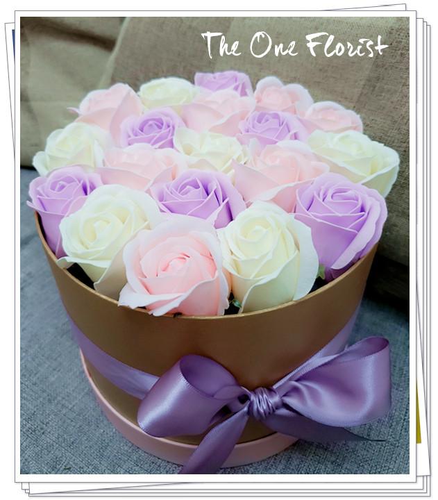 (K21)香皂花-淺紫粉白玫瑰花盒