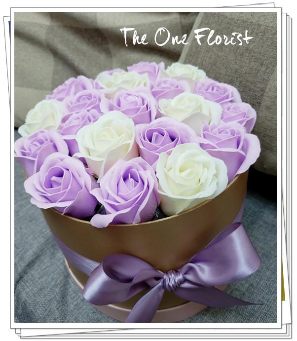 (K13)香皂花-淺紫白玫瑰花盒