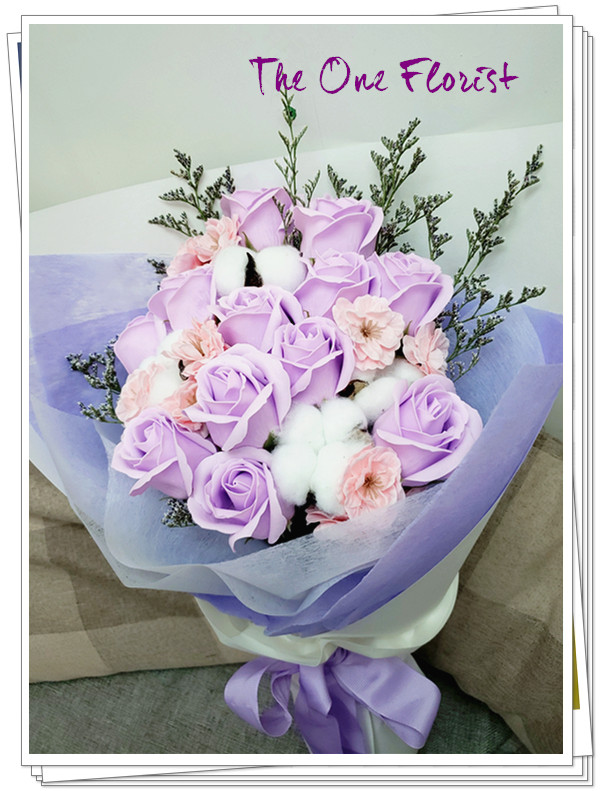 (K10)香皂花-淺紫玫瑰花束