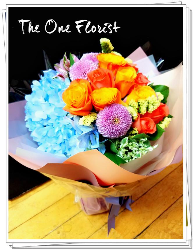 肯牙玫瑰繡球花束  花店訂花 (BQ-119)