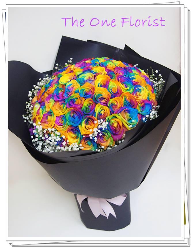 99枝彩虹玫瑰求婚花束 (BQ-95)