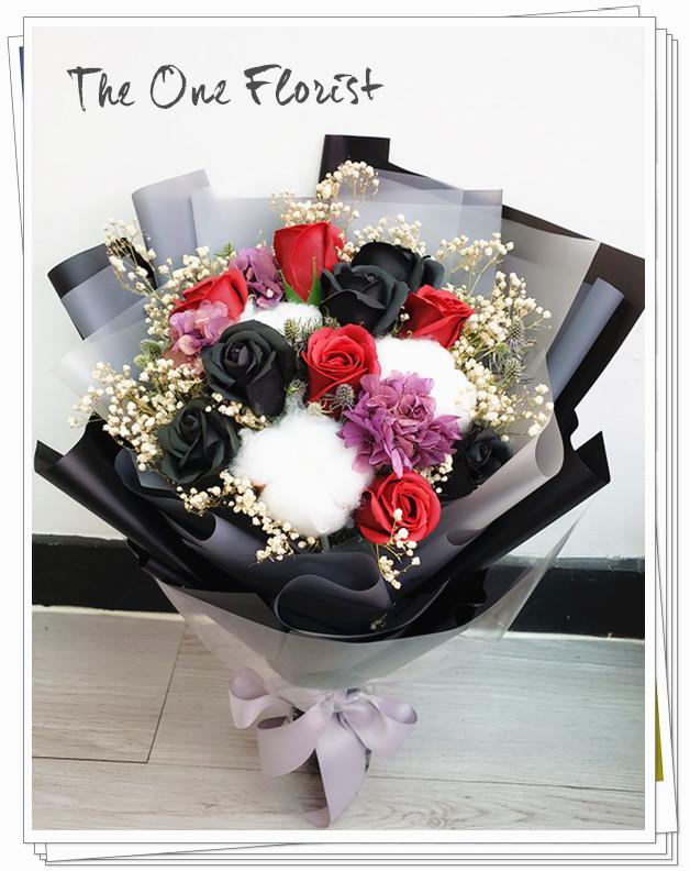 KS-05 紅黑玫瑰香皂花花束