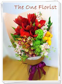荷蘭蕙蘭朱頂蘭玫瑰花束 網上花店 (BQ-58)