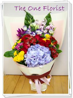12枝玫瑰荷蘭繡球花束 網上花店 (BQ-52)